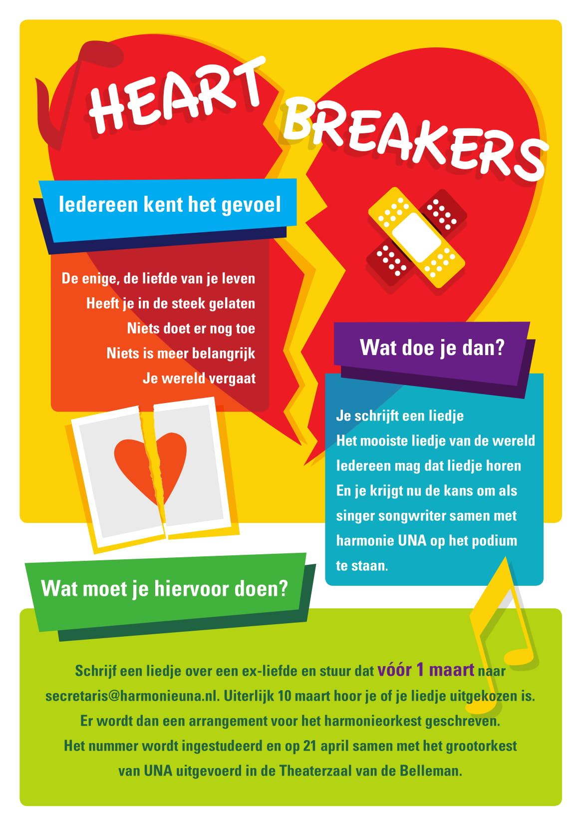 De flyer voor het voorjaarsconcert 2018, 'Heartbreakers'